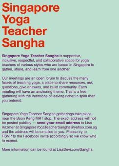 Singapore Yoga Teacher Sangha GENERAL