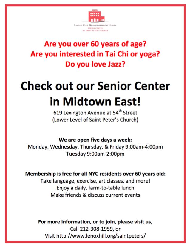 Gentle Yoga for Seniors NYC Lenox Hill Community House Midtown Manhattan