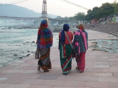three ladies in rishikesh india